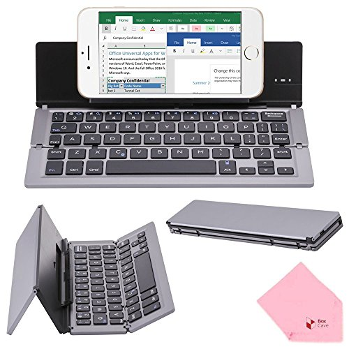 BoxCave Portable Foldable Aluminum Alloy Bluetooth 3.0 Wireless Keyboard with Kickstand Holder & 180 days Standby Time for Apple iPad iPhone iOS, Android, Windows (Gray) by BoxCave