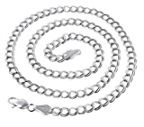 5mm Wide Sterling Silver 6'' Double Link Chain Charm Bracelet(Lengths 6'',7'',8'',9.5'')