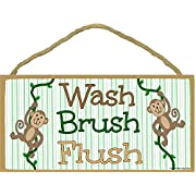 Monkeys, Wash, Brush Flush Kids Bathroom Sign Plaque 5 x10