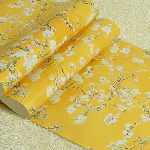 (Retro Van Gogh Apricot Flower Nonwoven Wallpaper For Bedroom Living Room Entrance TV Background Decoration 10m X 0.53m/roll (Color : Yellow))