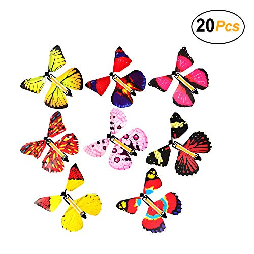 Warmtree Colorful Creative Magic Flying Butterfly Wind-up Fly Toys for Kids Funny Games Educational Toys Birthday Gifts (20 Pcs)]()