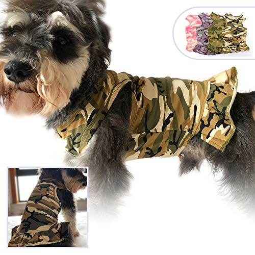 (Lovelonglong Pet Clothing Small Dog Clothes Camouflage Sport Dress T-Shirts Tee Dresses Tanks Top for Small Size Female Dogs Summer Spring Pet Costumes 100% Cotton (XS, Beige))