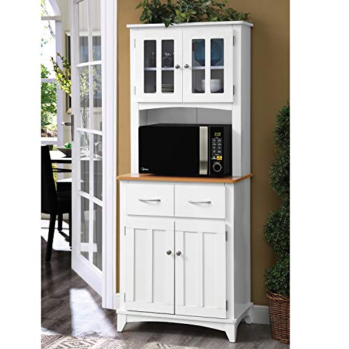 - Home Source Industries Brook Tall Microwave Cabinet with 2-Drawer and an Upper and Lower Cabinet, White with Cherry Wood Finish