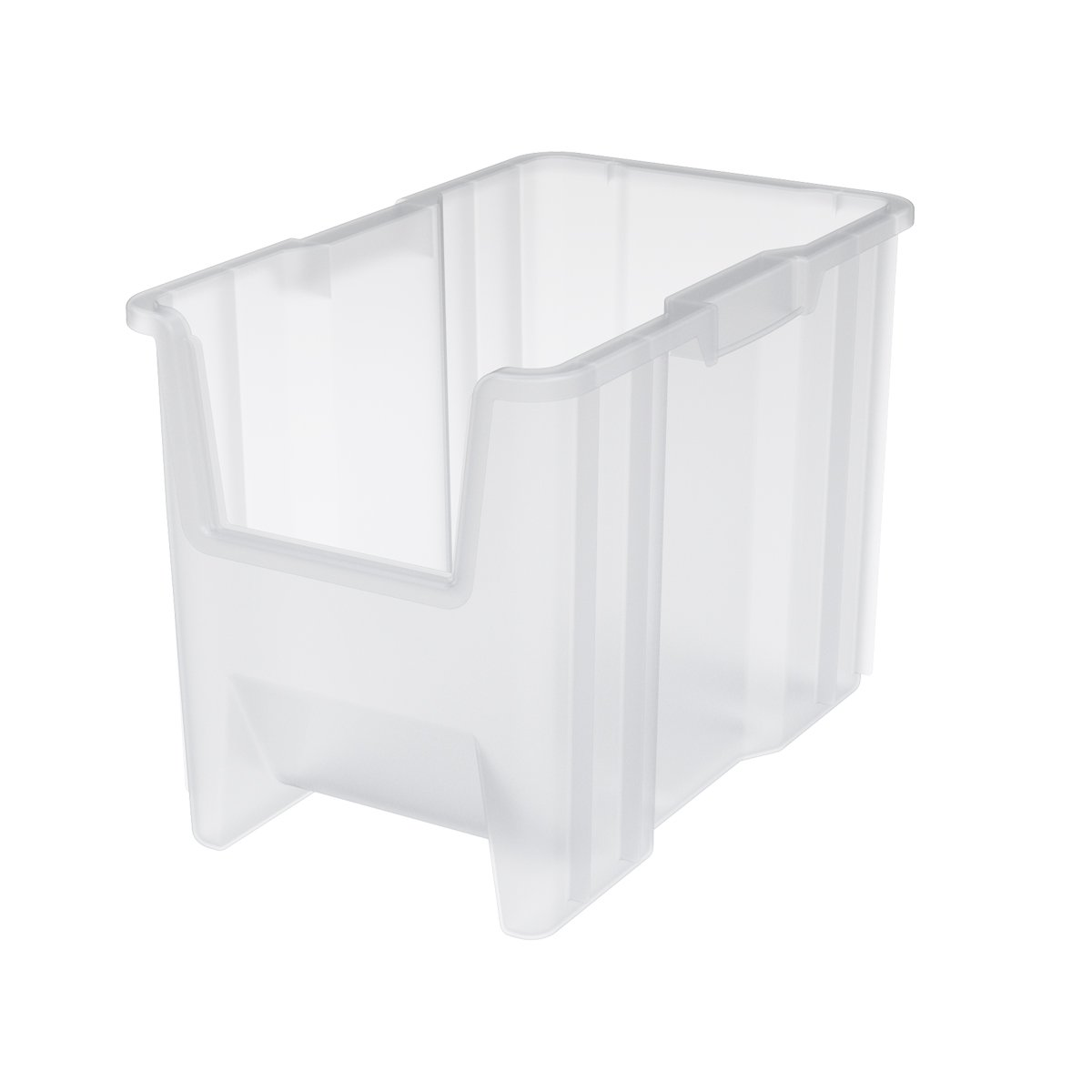 Akro-Mils 13014 Stak-N-Store Stacking Hopper Front Plastic Storage Bin, Clear, Case of 4