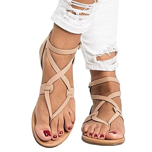 Women's Bohemia Criss Cross Strappy Beach Flip Flop Shoes Flat Sandals UK4-8.5 Beige eOIdk