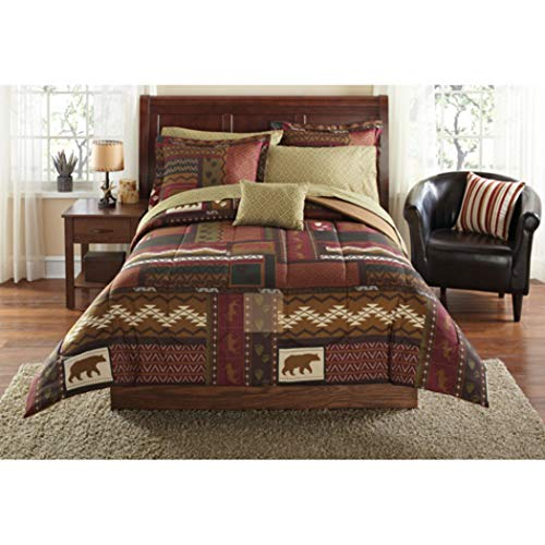 - OS 8 Piece Brown Wildlife Hunting Geometric Patchwork Theme King Comforter Set, Bear Moose Deer Print, Outdoor Rustic Stylish Country Cabin Lodge Pattern, Textured Reversible Bedding, Vibrant Colors