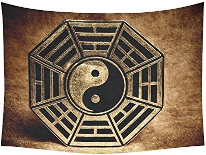 INTERESTPRINT Zen Wall Art Home Decor, Old Vinatge Yin Yang Symbol Peace Tapestry Wall Hanging Art Sets 80 X 60 Inches