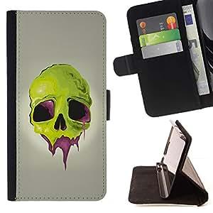 Momo Phone Case / Flip Funda de Cuero Case Cover - Cráneo verde;;;;;;;; - MOTOROLA MOTO X PLAY XT1562