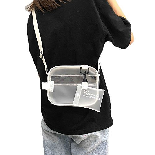 (Enkrio Mini Clear Cross Body Messenger Shoulder Bag Zippered Tote Bag PVC Transparent Purse Adjustable Strap Handbag Clutch Matte for Women Men Students)