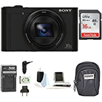 Sony Cyber-shot DSC-WX500 Digital Camera (Black) with 16GB Accessory Bundle