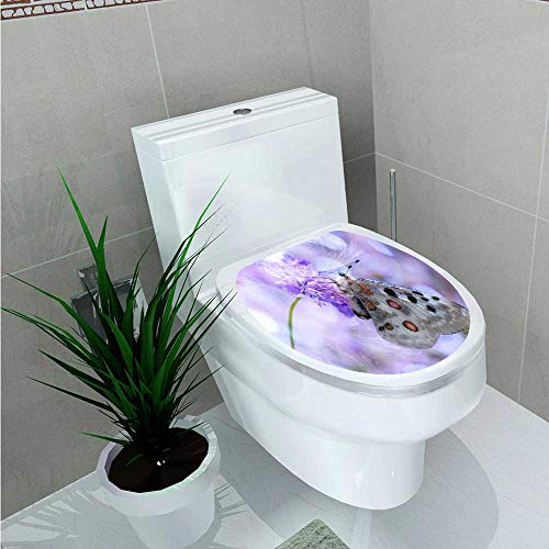 UHOO2018 Decoration Bathroom Toilet Cover Sticker The Butterfly on The Purple Flower for Restroom Wall Decals W8 x L11