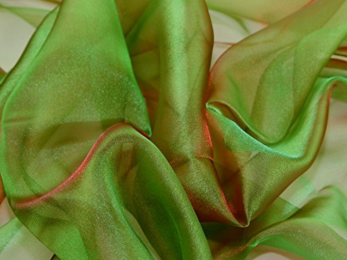 Two Tone Crystal Organza Dress Fabric Red/Green - per metre