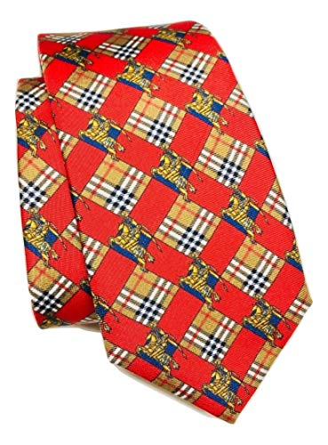 - New Authentic Burberry London Modern Cut Red Check and Equestrian Knight Skinny Silk Tie