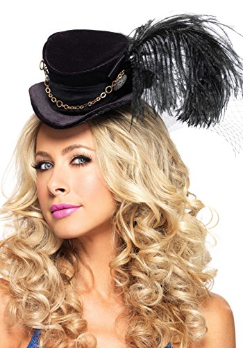 Leg Avenue Steampunk Top Hat With Chain And Feather Accent, Black, One -
