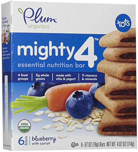 Plum Organics Tots Mighty 4 Bars - Blueberry with Carrot - 4.02 oz - 8 pk
