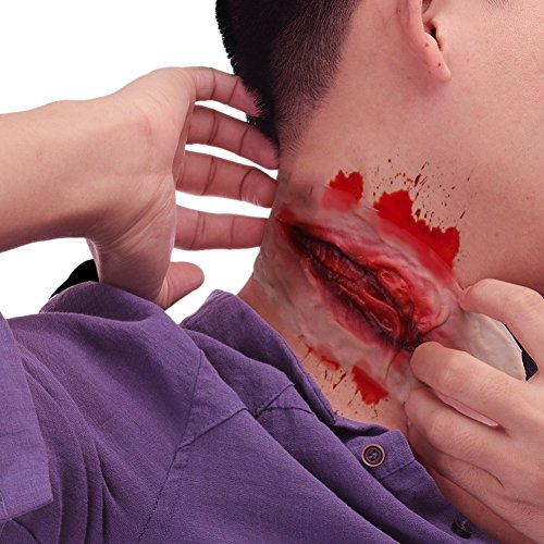 Halloween Horror Zombie Cut Throat Scar Tattoos Fake Wound Scars Bloody Makeup Halloween Decoration ()