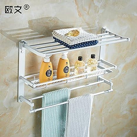 Doblar una toalla de baño espacio en rack toallero aluminio tres capas gruesas de racks de baño WC Colgador de metal: Amazon.es: Hogar