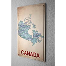 """Tin Sign World Trip Map Of Canada Decorative Wall Plate 8X12"""""""