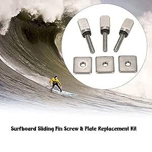 LNNUKc 3 Tabla de Surf Longboard Sliding Fin Tornillo y Placa de ...