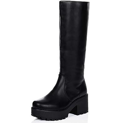 c8a87aae2213 Spylovebuy Platform Block Heel Knee HIGH Biker Boots Black Leather Style SZ  7