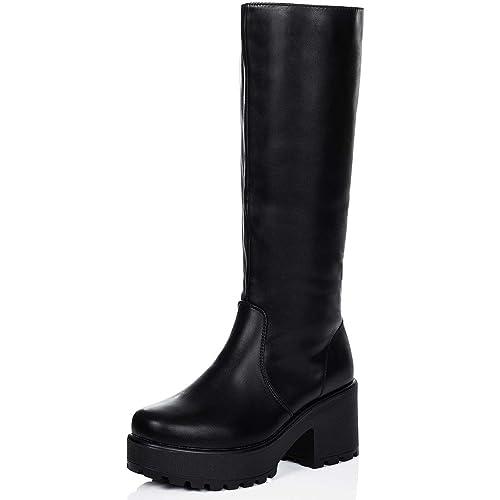 79b15512472 SPY LOVE BUY Rockford Women's Platform Block Heel Knee High Biker Boots