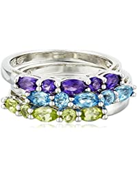 Sterling Silver Multi-Stone Stackable Ring, Set of 3