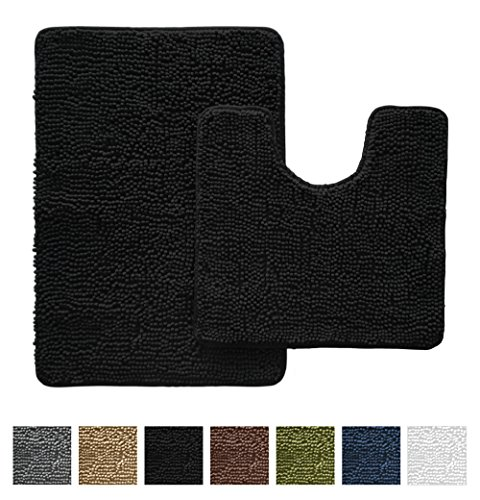 Gorilla Grip Original Shaggy Chenille Bathroom 2 Piece Rug S