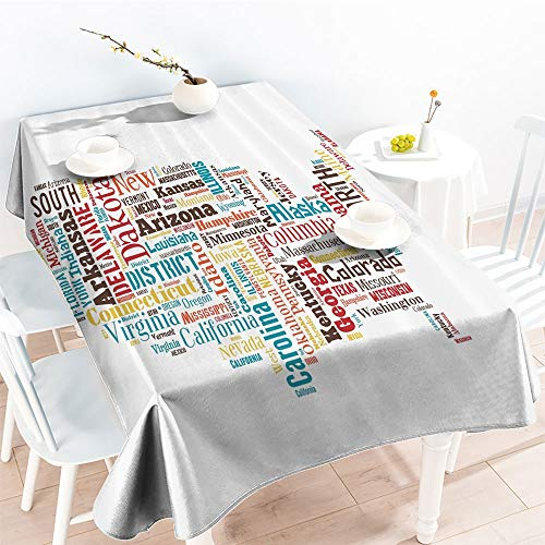 (Jinguizi Spillproof Table USA United States America Map Cities and Towns California Missouri Virginiafor Party/Picnic TableclothTeal Brown Yellow(70 by 90 Inch Oblong)