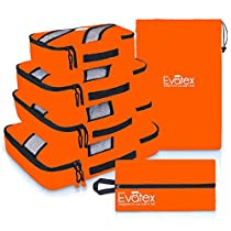 Evatex LuxuryPacking Cubes, 4 Pcs Set (Orange), with Laundry, Shoe Bag