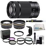Sony E 55-210mm F4.5-6.3 Lens for Sony E-Mount Cameras (White Box) - Black with Outdoor Kit: 0.43x Wide Angle Lens, 2.2x Telephoto Lens, 3 Piece Filter Kit (UV-FLD-CPL), 4 Piece Macro Lens Kit (+1+2+4+10), Lens Hood, Cleaning Kit, & Lens Pen