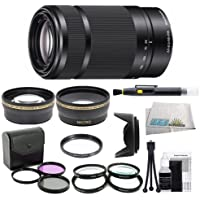 Sony E 55-210mm F4.5-6.3 Lens for Sony E-Mount Cameras (White Box) - Black with Outdoor Kit: 0.43x Wide Angle Lens, 2.2x Telephoto Lens, 3 Piece Filter Kit (UV-FLD-CPL), 4 Piece Macro Lens Kit (+1+2+4+10), Lens Hood, Cleaning Kit, & Lens Pen