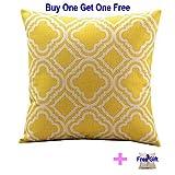 Buy One Get One Free!!! Cotton Linen Decorative Throw Pillow Case Cushion Cover Argyle Pattern Lemon Square 18' + One Free Pillowcase