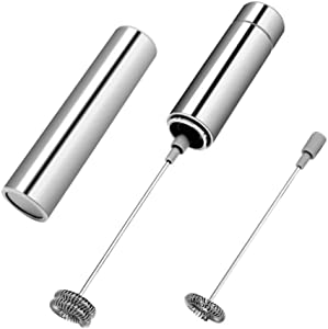 discountstore145 Electric Handheld Egg Beater Frother Foam Maker Whisk Mixer for Hot Drink Milk Coffee Silver