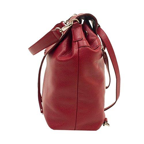 6Glam - Bolso mochila  de Piel para mujer rojo burdeos