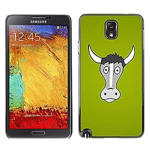 LECELL -- Funda protectora / Cubierta / Piel For Samsung Galaxy Note 3 N9000 N9002 N9005 -- Funny Horned Cow Bull --