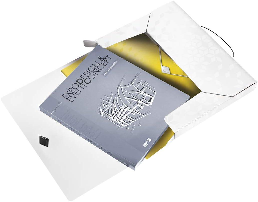 Schwarz Gummizugverschluss Leitz WOW Ablagebox f/ür bis zu 250 Blatt 46290095 Kunststoff WOW A4