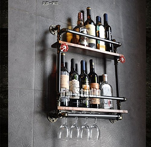 Loft industrial vintage pipe bar cafe bar restaurant wall mounted wine rack liquor cabinet wine glass rack wine racks,Matt Black: 521555
