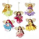 vintage angel figurines - Kurt Adler Blooming Fairy Angel Ornament Set of 6, Multicolor - 3.75 Inches