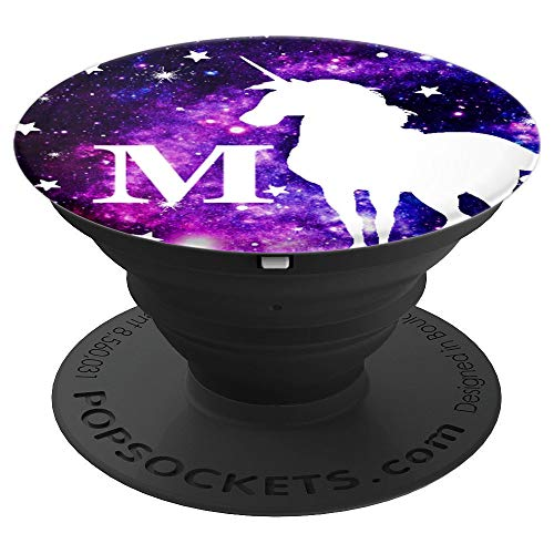 Letter M Initial Unicorn Monogram M - Purple Space Stars - PopSockets Grip and Stand for Phones and Tablets