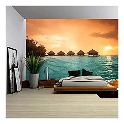 Over Water Bungalows with Steps into Amazing Green Lagoon - Removable Wall Mural | Self-Adhesive Large Wallpaper - 100x144 inches