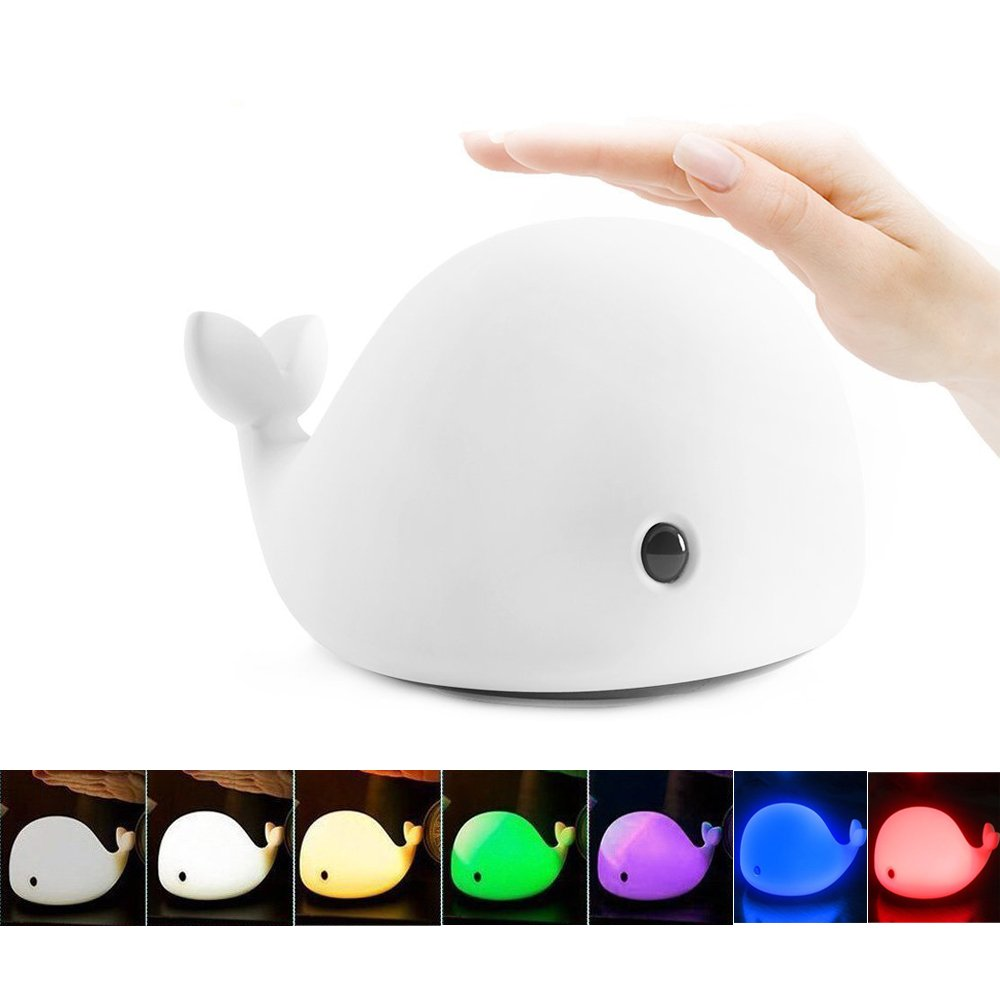 Imcolorful Dolphin LED Night Light Dolphin Tap Light,Soft Silicone Baby Nursery Lamp Sensitive Tap Control 7 Single Colors for Children Girls Women Bedroom and Nursery