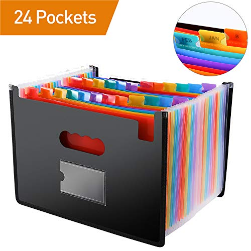 (File Folder Organizer/24 Pockets Hot Pressing Forming Document Organizer with Cloth Edge Wrap and File Guides, Multi-Color Accordion A4 Size with Expanding Wallet Stand for Business/Office/Study/Home)