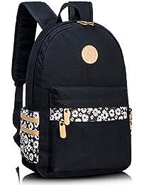 School Book Bag for Girls, Water-Proof Floral Teens Casual Laptop Backpack Travel Hiking Shoulder Daypack Rucksack Black