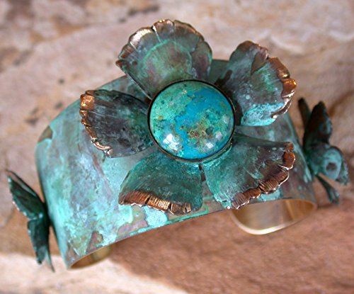 Verdigris Patina Tapered Floral Cuff with Genuine Turquoise by Elaine Coyne Collectible Artwear