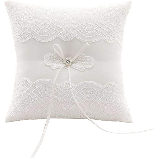 Awtlife - Cojín de boda, diseño de flores, color marfil ...