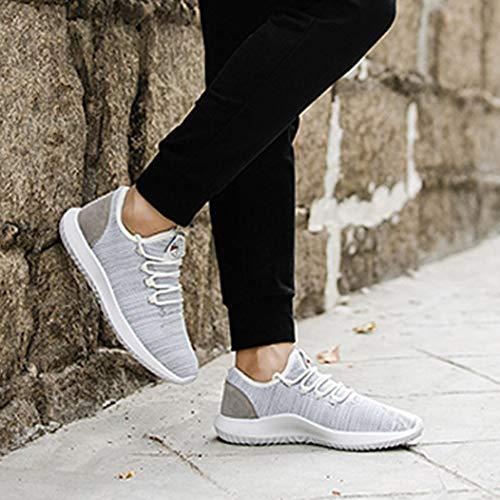 Cordones Zapatillas Zapatos Running QinMM Primavera Hombre de Malla Casual Verano Gris Respirable Deportes para Gym otoño fSaqSw