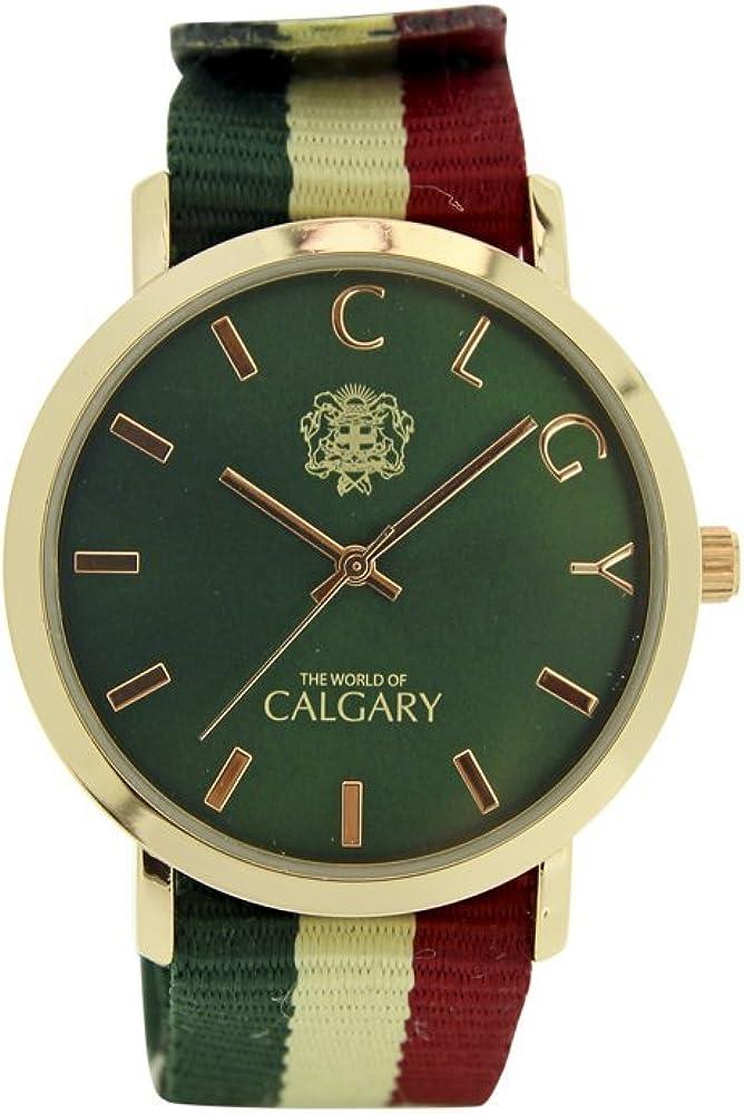 Relojes Calgary New Mazzini colección Peace & Love. Reloj vintage para mujer, correa de tela en rallas verdes, beig y rojo. Esfera verde y dorado