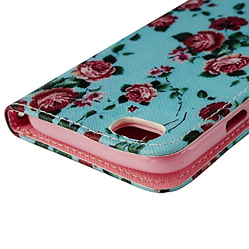 Flip Case Cover Wallet Folio Schutzhülle für iPhone 6 4.7 Zoll Blumen Blau Tasche Ledertasche Hülle Handyhülle Etui Schale Backcover im Bookstyle mit Standfunktion Kredit Kartenfächer