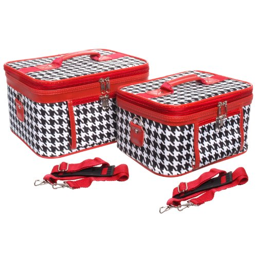 World Traveler 2-Piece Houndstooth Cosmetic Train Case Set, Black and White with Red Trim