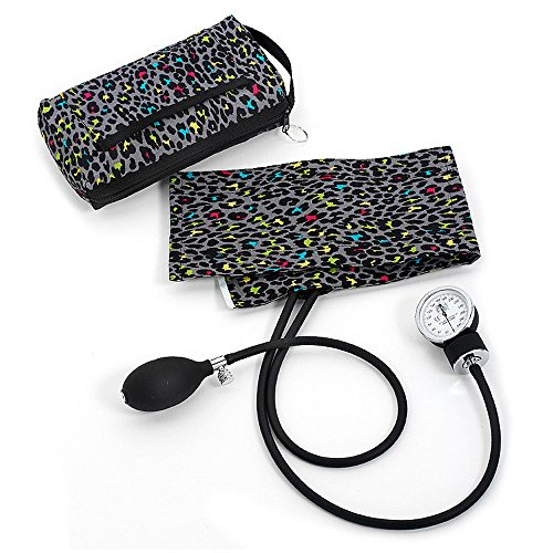 Prestige Medical Premium Aneroid Sphygmomanometer with Carry Case, Leopard Print Grey